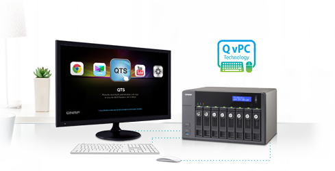Use your TS-853U-RP as a PC with the exclusive QvPC Technology