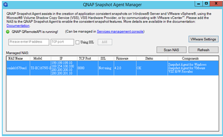 QNAP Snapshot Agent Screenshot